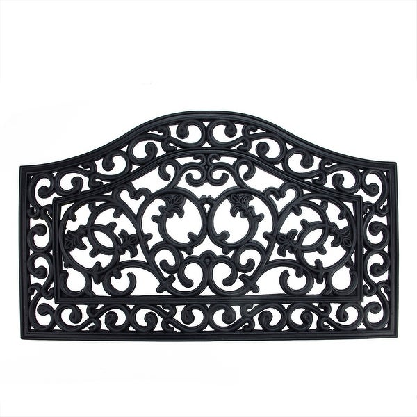 "Decorative Black Scroll Outdoor Rubber Door Mat 29.5"" x 17.75"""