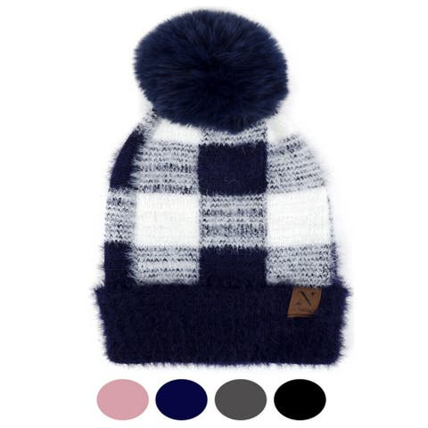 Women's Checkered Knit Winter Hat With Pom Pom