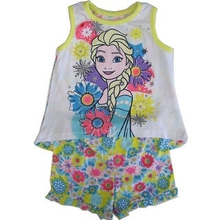 Disney Little Girls Yellow Elsa Floral Print Tank Top 2 Pc Shorts Set 2-4T