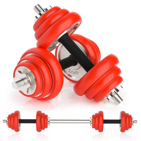 Silicone coated two-in-one dumbbell set with adjustable barbell for strength training - 2 in 1