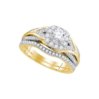 1 Ctw Diamond 3/8Ctw Center Round Bridal Set 14K Yellow-Gold - White I-J