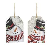 Set of 24 White and Red Christmas Decorative Snowman Tag Ornaments 6""