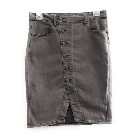 Express Button Front Skirt, Black, 8