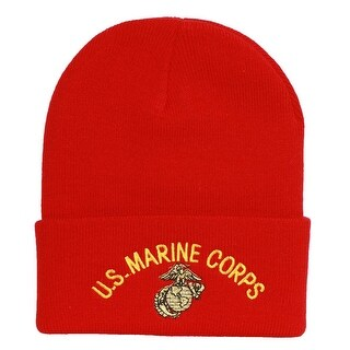Red Cuff US Marine Corps Knitted Beanie