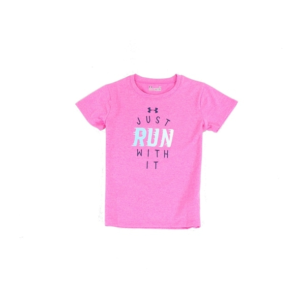d8b4f275cca3d Under Armour NEW Pink Big Girls Size 6X Crew Neck Just Run With It T-Shirt  648