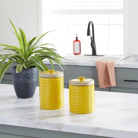 Yellow Ceramic Farmhouse Decorative Jar (Set of 2) - 6 x 6 x 9