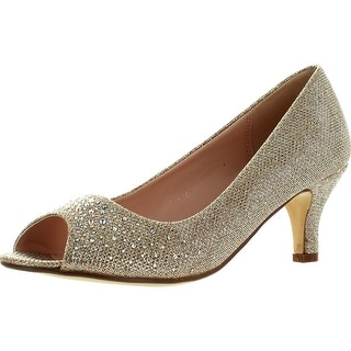 Bonnibel Wonda-2 Womens Peep Toe Low Heel Glitter Slip On Dress Pumps