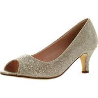 Bonnibel Wonda-2 Womens Peep Toe Low Heel Glitter Dress Pumps