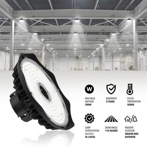 12 in. 200-Watt Integrated LED High Bay Indoor/Outdoor UFO Light with 26000 Lumens 5000K, Black by JONATHAN Y