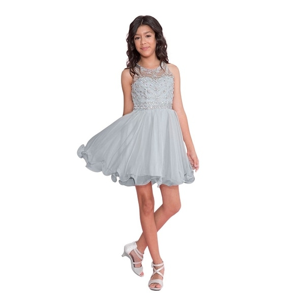 e4bc65e8255c7 Calla Collection Girls Silver Jewel Short Special Occasion Tween Dress