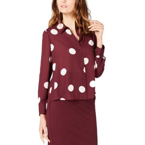 INC International Concepts Women's Polka-Dot High-Low Shirt (XL)
