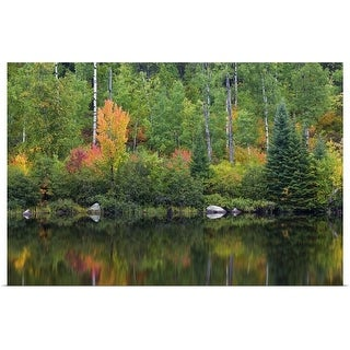 """Autumn color trees along Pike River, water reflection, Minnesota"" Poster Print"