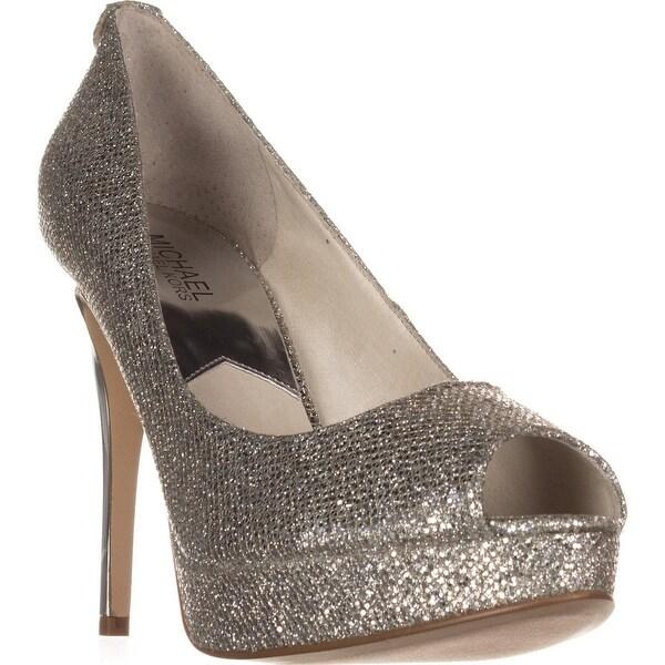 MICHAEL Michael Kors York Platform Peep-Toe Platform Heels, Silver - 9 us