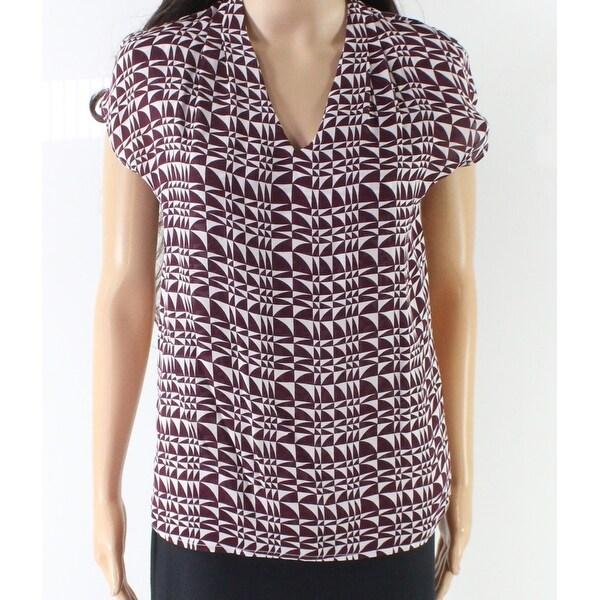 Classiques Entier Purple Women's XS Abstract Print V-Neck Blouse