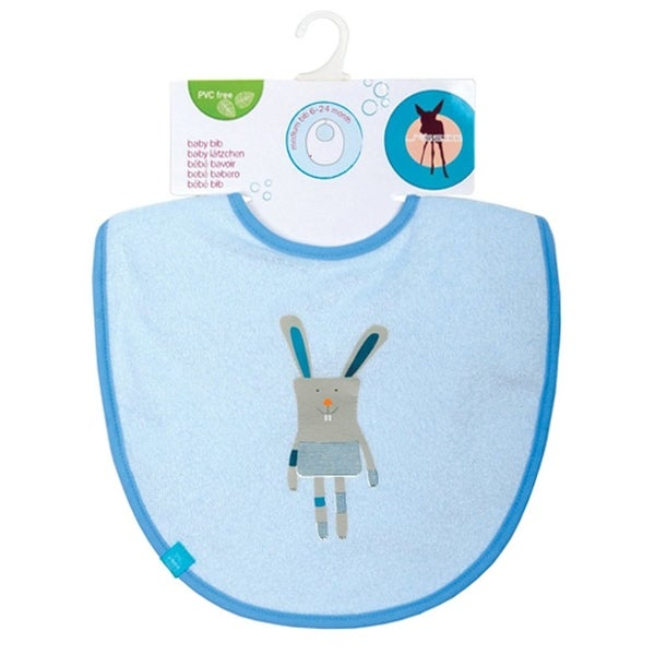 Lassig Baby Boys Solid Blue Bunny Medium Bib - One size