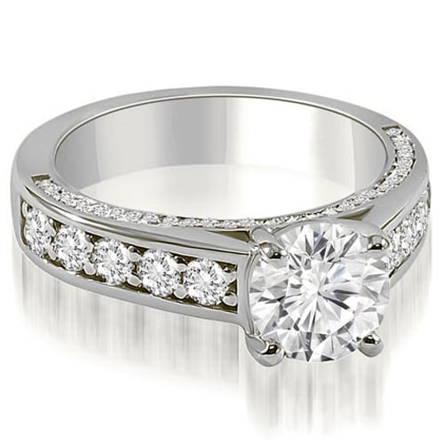 1.25 cttw. 14K White Gold Antique Style Cathedral Round Diamond Engagement Ring