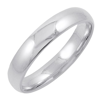 Men's 10K White Gold 4MM Comfort Fit Plain Wedding Band (Available Ring Sizes 8-12 1/2)
