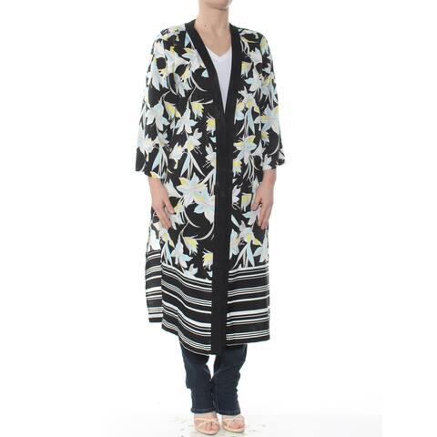 BAR III Womens Black Midi Length Floral Open Cardigan Wear To Work Jacket Plus Size: M