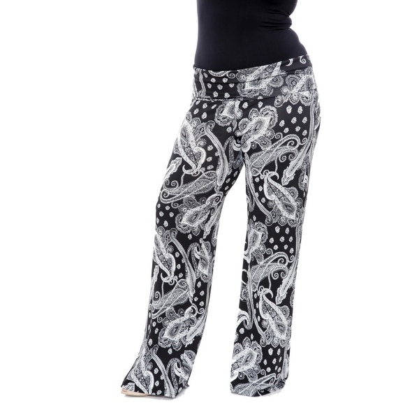 91a17be298abc3 Shop Plus Size Printed Palazzo Pants - Black & White - On Sale ...
