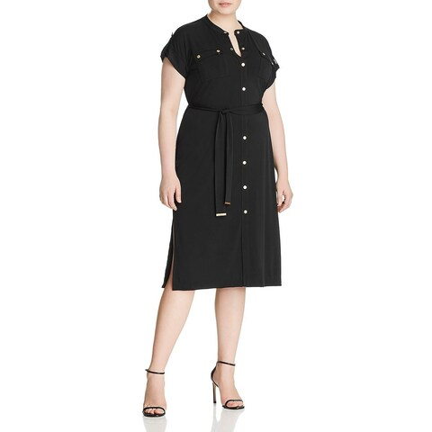 MICHAEL Michael Kors Womens Plus Shirtdress Long Sleeves Midi