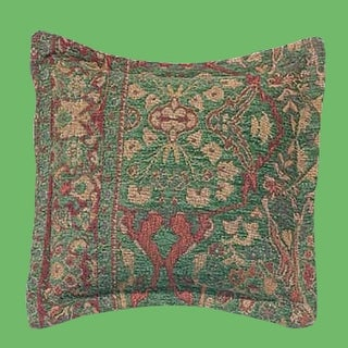 Pillow Green Chenille Carmen Tapestry 18 Square