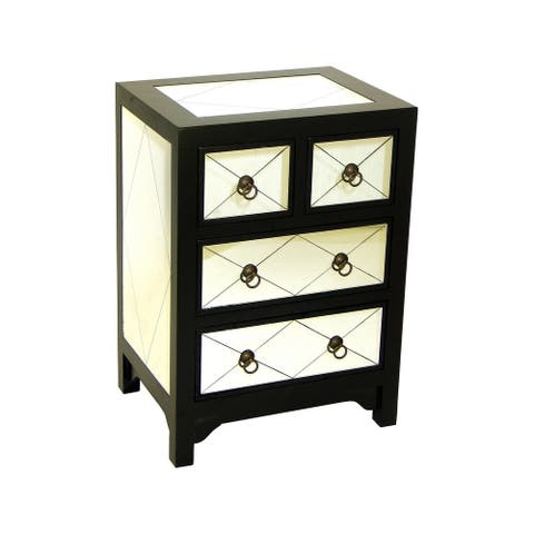 28 Inch 4 Drawer Wood Chest with Mirror Inlay, Black