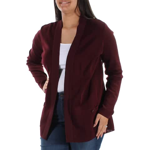 ANNE KLEIN Womens Burgundy Pocketed Long Sleeve Open Sweater Size: L