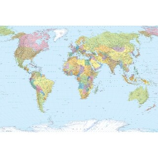 """Brewster XXL4-038  98"""" x 145"""" - World Map - Unpasted Non-Woven Mural - 4 Panels"""