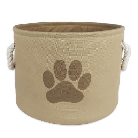 """12"""" Vibrant Taupe Small Round Polyester Pet Bin Paw Organizer"""
