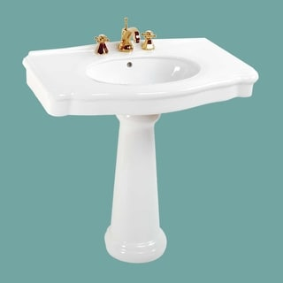 White China Wide Pedestal Sink 8 Widespread Faucet (NOT INCLUDED)