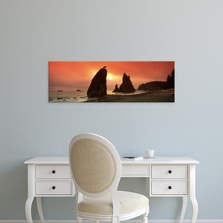 Easy Art Prints Panoramic Image 'Silhouette of seastacks at sunset, Olympic National Park, Washington State' Canvas Art