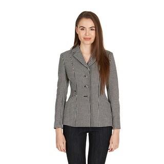 Dior Women's Black White Houndstooth Button Coat