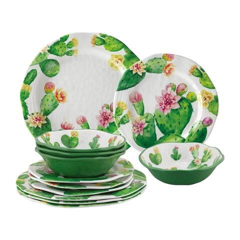 UPware 12-Piece Cactus Melamine Dinnerware Set