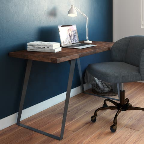 WYNDENHALL Mitchell SOLID ACACIA WOOD Modern Industrial 54 inch Wide Flat Top Desk in Distressed Charcoal Brown