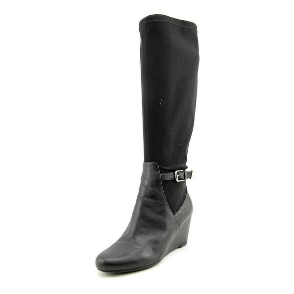 Isaac Mizrahi Krystal Women Round Toe Leather Black Knee High Boot