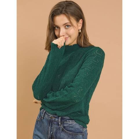 Allegra K Women's Ruffle Mock Neck Bishop Sleeve Knit Pullover Sweater