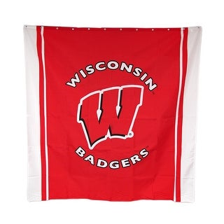 Wisconsin Badgers Fabric Shower Curtain 71 X 71 in. - Red