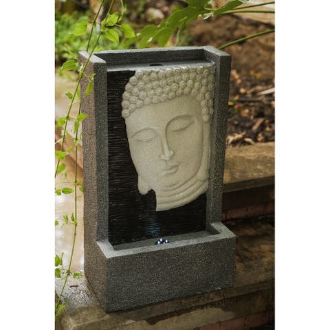 Xbrand Self Standing Buddha Face Water Fountain, Relaxing Zen Decor, 23 Inch Tall, Grey and White