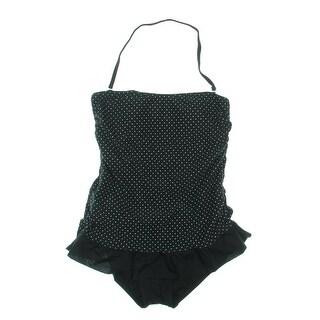 Hula Honey Womens Polka Dot Ruffled One-Piece Swimsuit - M