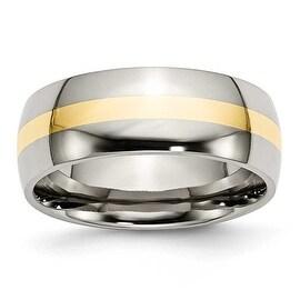 Chisel 14k Gold Inlaid Polished Titanium Ring (8.0 mm)