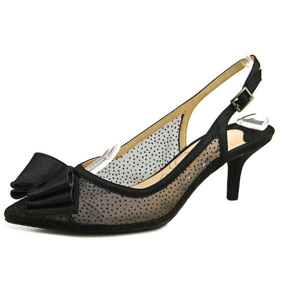 J. Renee Vanna Women N/S Pointed Toe Canvas Black Slingback Heel