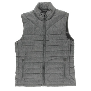 Nautica Mens Down Fill Herringbone Outerwear Vest