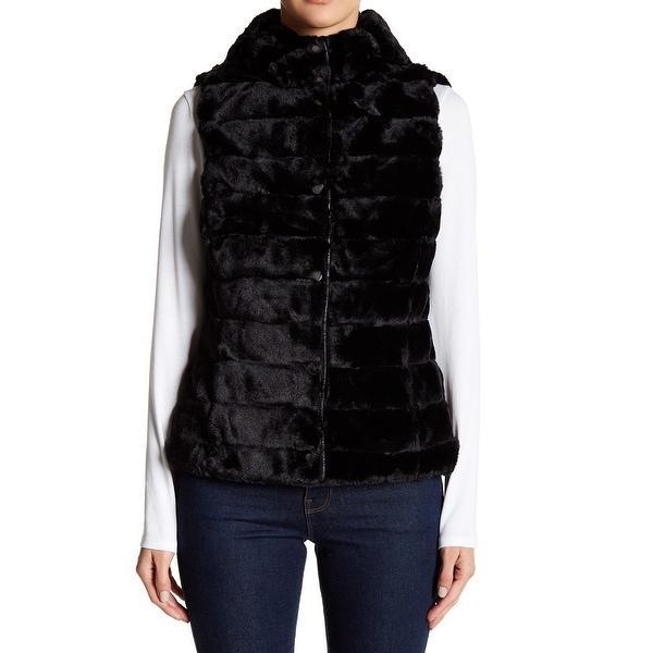 Be Boundless Black Womens Size Medium M Reversible Faux Fur Vest