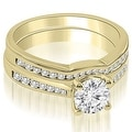 0.94 cttw. 14K Yellow Gold Cathedral Channel Set Round Diamond Bridal Set - Thumbnail 0