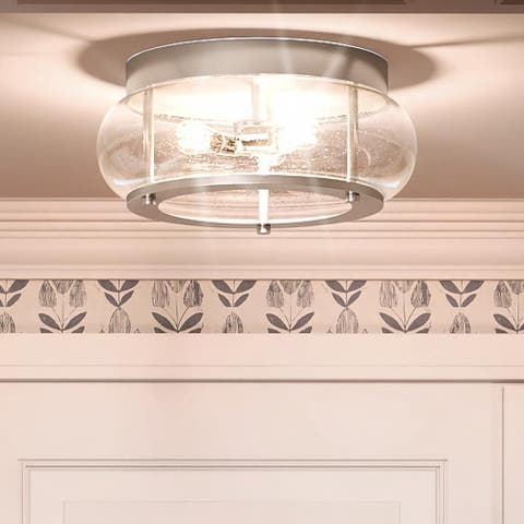 """Luxury Utilitarian Ceiling Light, 7""""H x 16""""W, with Coastal Style, Brushed Nickel, UQL3300 by Urban Ambiance"""
