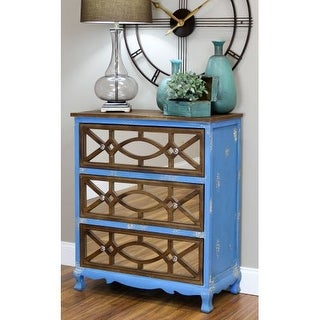 Aspire Home Accents 4301 Lara 31-1/2 Inch Wide 3 Drawer Wood Dresser with Mirrored Front