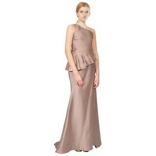 Badgley Mischka One Shoulder Peplum Mikado Evening Gown Dress - 8