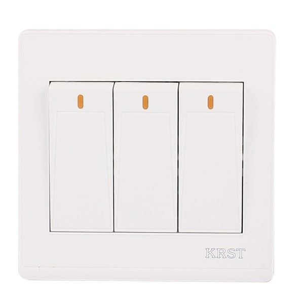 On/Off Press Button 3 Gang 2 Way Wall Switch Home Light Lamp Control ...