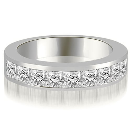 1.26 cttw. 14K White Gold Princess Diamond 9-Stone Channel Wedding Band