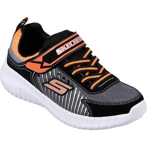 Skechers Boys' Elite Flex Spectropulse Sneaker Black/Charcoal/Orange